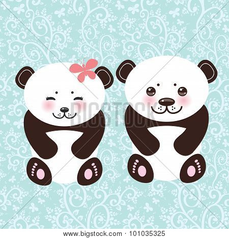 girl and boy Kawaii funny panda white muzzle with pink cheeks and big black eyes. Vector