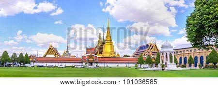 Panoramic View Of Wat Phra Kaew, Public Temple In Bangkok, Thail