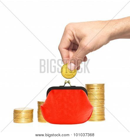Savings, Increasing Columns Of Gold Coins, Red Purse And Man Hand