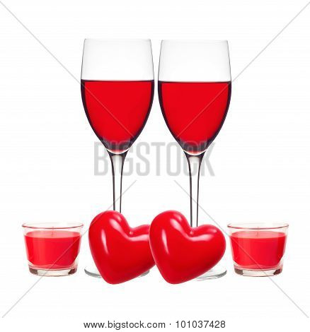Classic Glass Of Red Wine, Red Hearts And Candles Isolated On White Background
