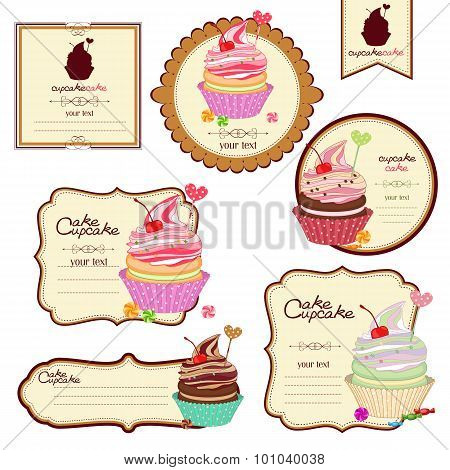 Vector Set Of Labels With Sweets, A Sticker For Cakes, Cupcakes.