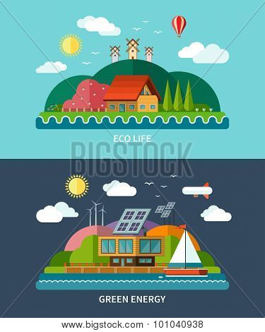 Set of vector flat ecology concept backgrounds