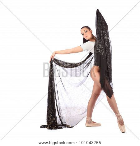 Girl Dancer Dressed As A Ballerina With Beautiful Veil