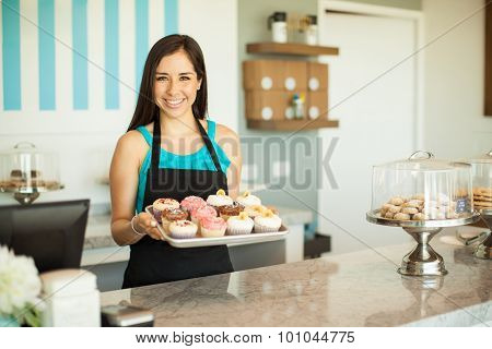 Gorgeous Woman Selling Cupcakes