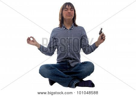 Meditating man with the gun