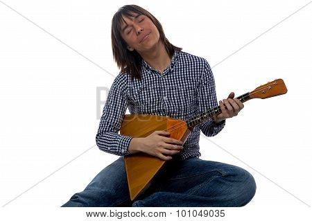 Singing young man with balalaika