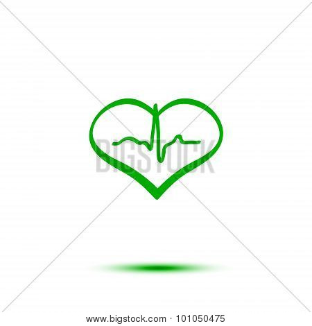 Green heart and ecg