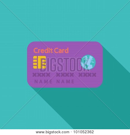 Credit card single flat icon.