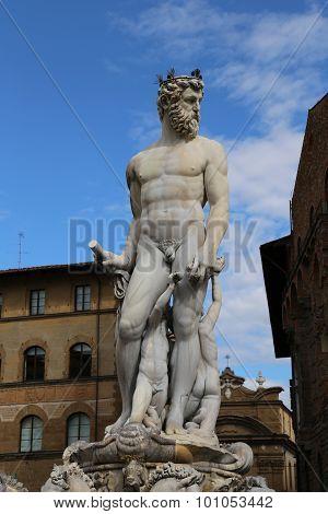 Fountain Of Neptune In Florence In Piazza Della Signoria