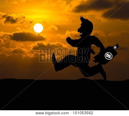 Cartoon Business Silhouette Concept,businessman Running On The Way To Success With Briefcase At Suns