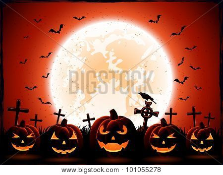 Halloween Night With Moon And Pumpkins
