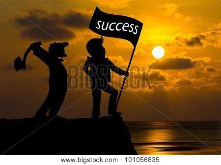 Concept Skyline,cartoon Man Hold Axe And Man Hold Flag Success