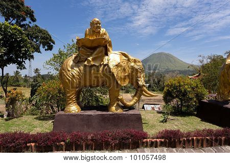 Fat Monk On Elephant Statue In Complex Pagoda Ekayana