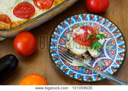 Moussaka On A Plate Dish With Aubergine And Tomato, Turkish Meal