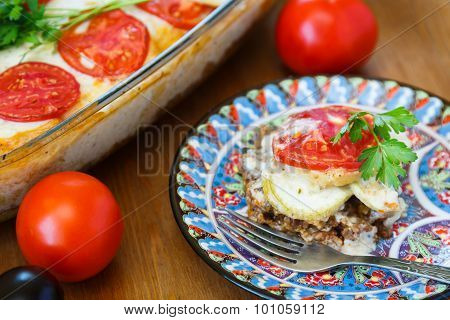 Moussaka Dish With Aubergine And Meat, Traditional Greek Meal