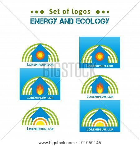 Logo about energy and ecology, heating homes.