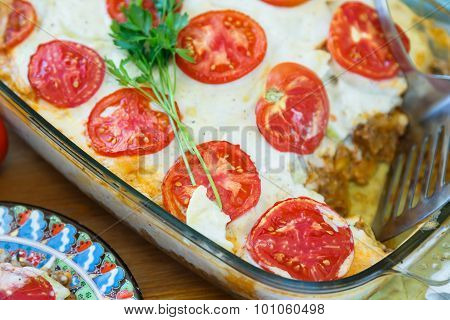 Traditional Moussaka With Eggplants, Potatoes, Minced Meat