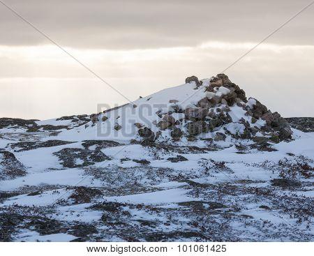 Rocky landscape and snow