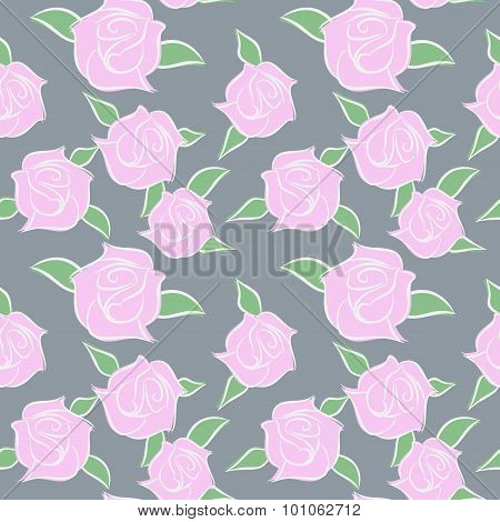 Pink Roses Seamless Patern. Flowers In Pastel Colours. Vector Flower Ornament