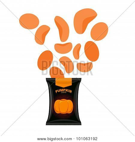 Pumpkin Chips. Packaging Of Vegetable Chips. Vegetarian Delicacy. Vector Illustration Food For Hallo