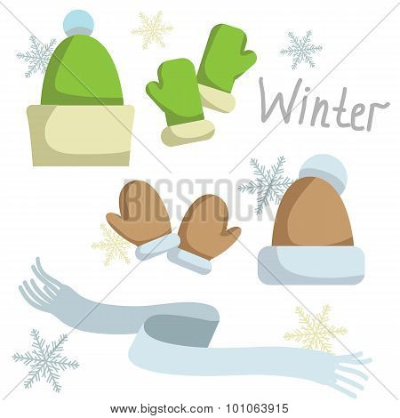 Set of winter clothing. Hat , mittens and scarf. Vector