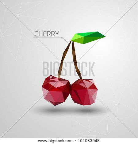 Bright cherry polygon. Geometric cherry. Vector illustration