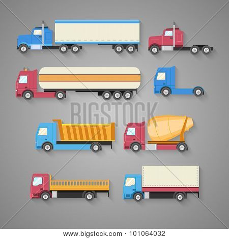 Vector set of trucks with a shadow. Color flat icons. Dump truck