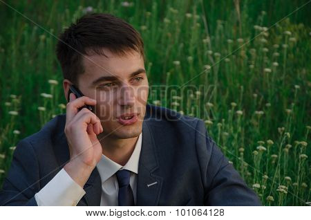 Buisnessman Talk By Mobile Phone