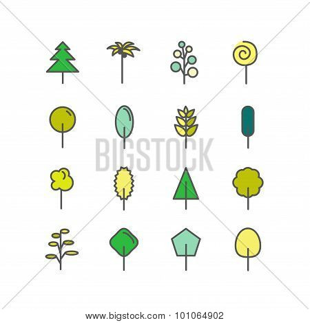 Set of color line icons. Trees: palm tree, fir-tree, oak, pine.
