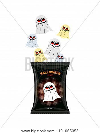 Halloween Chips With Ghosts. Treats For Dreaded Holiday In Black Packaging. Ghosts Fly Out Of  Pack.