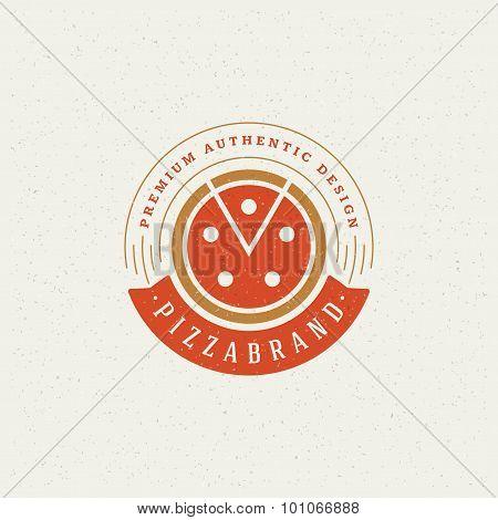 Pizzeria Restaurant Shop Design Element in Vintage Style for Logotype
