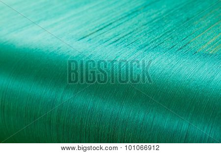 Green Silk On A Warping Loom Of A Textile Mill