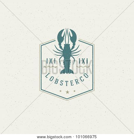 Sea food Restaurant Shop Design Element in Vintage Style for Logotype
