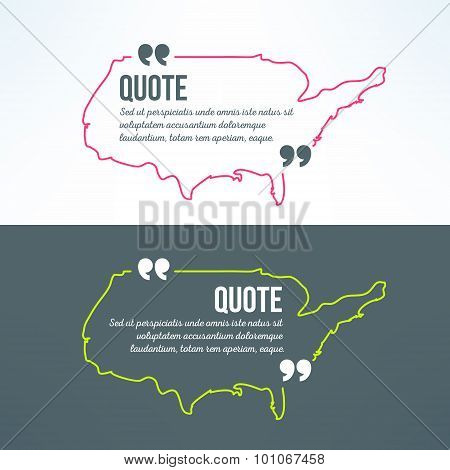 Vector quotation background with usa map outline. American patriotic phrase frame in modern flat des