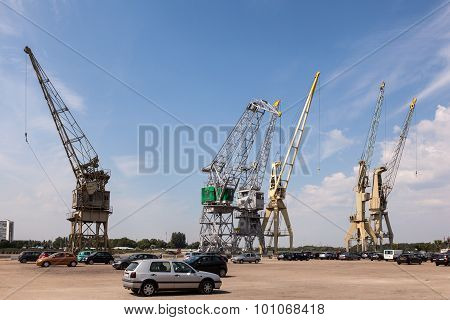Old Cranes In The Port Of Antwerp, Belgium
