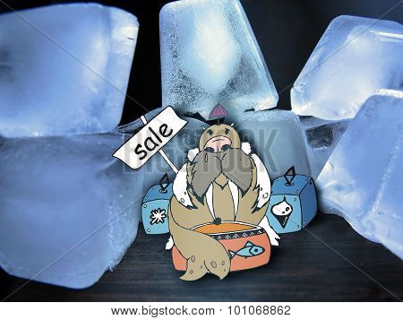 Combination of drawing and pictures - Walrus among ice floes trades
