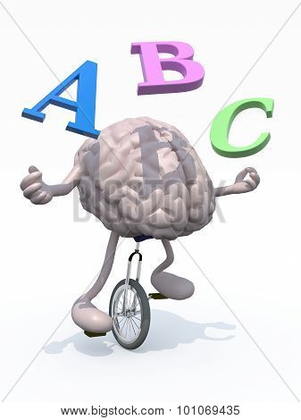 Human Brain Juggler With Alphabet