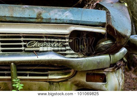 Smashed Headlight On Old Chevrolet