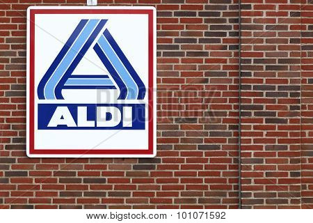Aldi logo on a facade