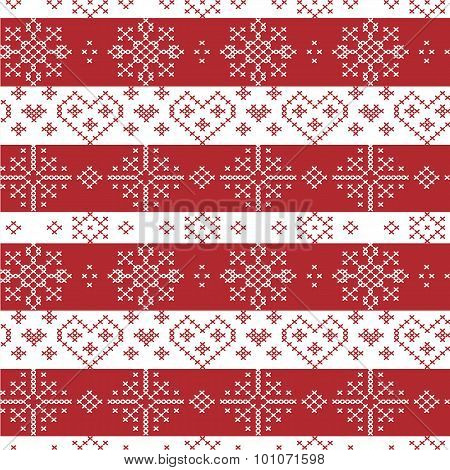 Red and white Nordic Christmas seamless   pattern with stars, snowflakes,  hearts, decorative elemen