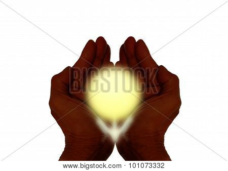 Cupped Hands Holding Sun On White