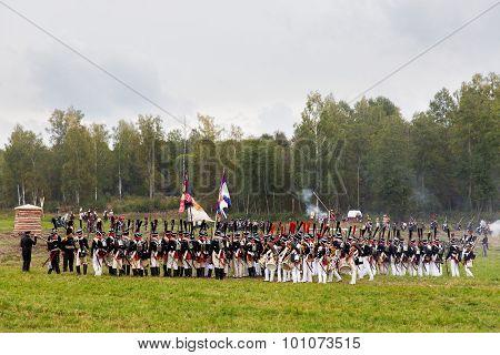 Borodino, Russia - September 06, 2015 - Reenactment Of The Battle Of Borodino.