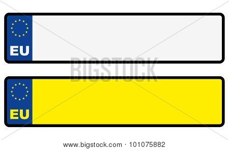 Abstract European Eu Car Blank Number Plate With Free Copy-space