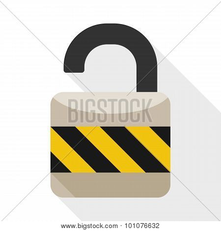 Open Padlock Flat Icon With Long Shadow On White Background