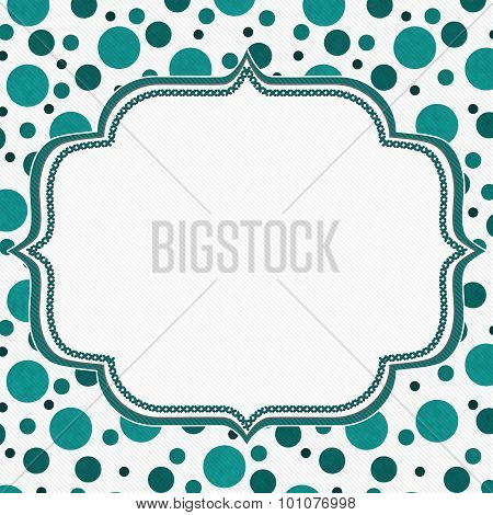 Teal And White Polka Dot Frame Background