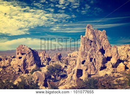Vintage photo of Cappadocia Rock formations in Goreme National Park, Turkey