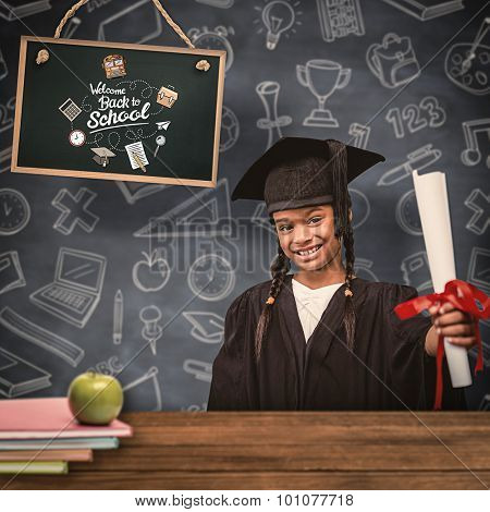 Cute pupil in graduation robe against overhead of wooden planks