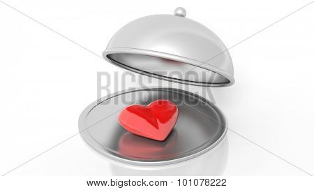 Silver restaurant cloche with heart, isolated on white background.