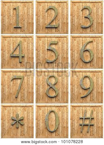 Numeric wooden characters, isolated on white background.