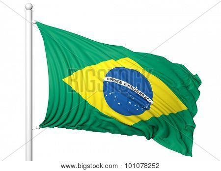 Waving flag of Brazil on flagpole, isolated on white backgroun